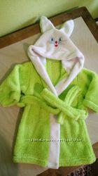 Теплый флисовый мягкий халат банный, с ушками под пояс