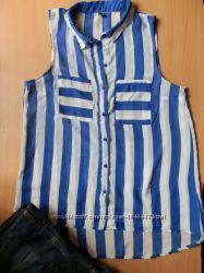 Шифоновая блуза в полоску удлиненная спинка без рукавов  Pimkie