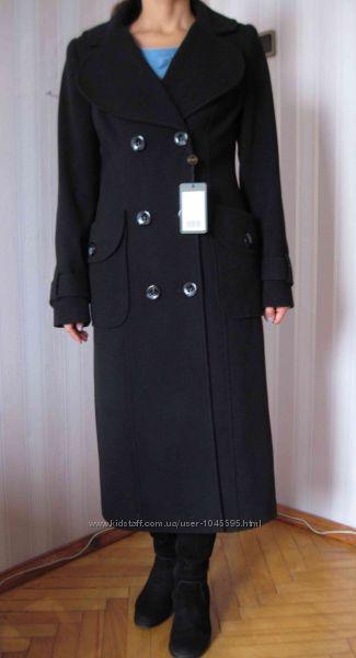 Новое приталенное длинное черное пальто р. 46 наш