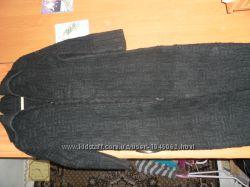 Вязаное длинное пальто