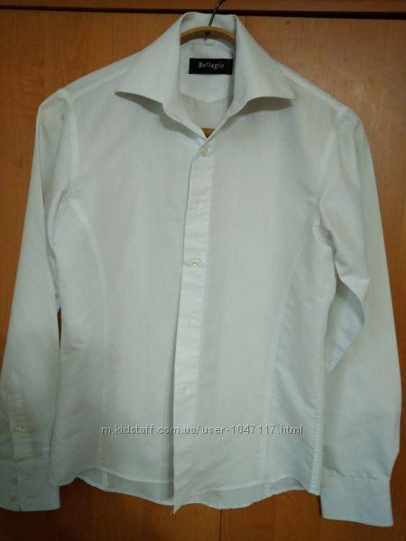 Рубашка белая приталенная, ворот 38см