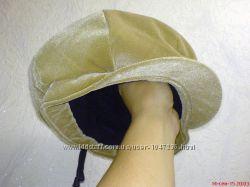 Кепка шапка зимняя женская, берет микровельвет, песочный цвет, мех, НОВАЯ