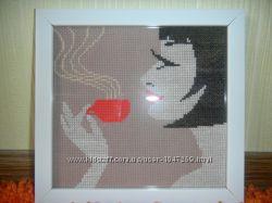 картина крестиком Девушка с кофе