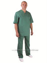 Костюм хирургический мужской, зеленый, сису.