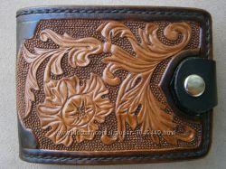 Эксклюзивное кожаное портмоне, полностью ручная работа.