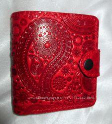 Изумительный кожаный женский кошелек с авторским узором, ручная работа