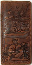 Портмоне кожаное мужское, кошелек кожаный мужской, ручная работа