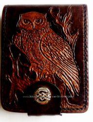 Эксклюзивное кожаное портмоне Сова, полностью ручная работа.