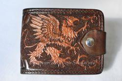 Удивительное кожаное мужское портмоне полностью ручной работы Грифон