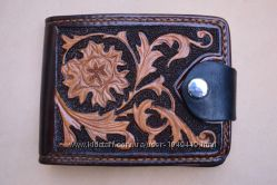 Авторское кожаное портмоне полностью ручной работы, натуральная кожа.