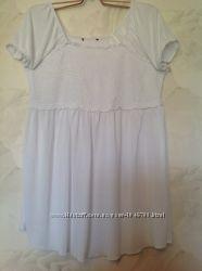 Белоснежная туника-платье с резинками LINDEX, размер 54-60.