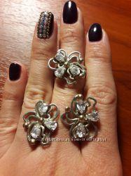 Комплект серебро и золото серьги кольцо
