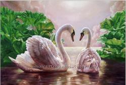 Алмазная вышивка стразами Лебеди