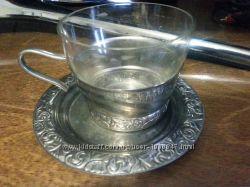 Подарочный комплект чашка с блюдцем металл со стеклом