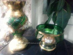 Богемия золотая смальта позолота фруктовница конфетница