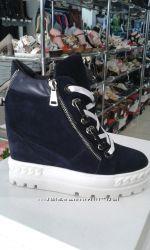 Сникерсы ботинки женские кожаные