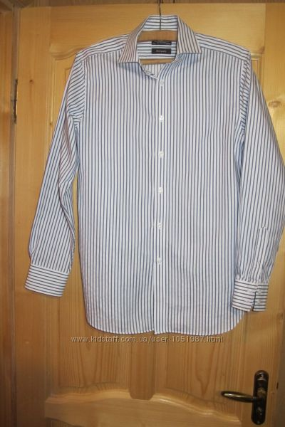 Приталенная полосатая рубашка в серо-белых тонах Duffer of St George