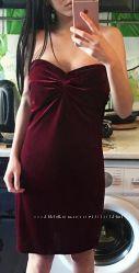 Шикарное бархатное велюровое платье Mango марсала оригинал