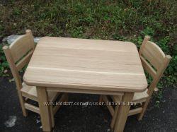 Дитячий дубовий комплек стіл  2 стільці Ручна робота