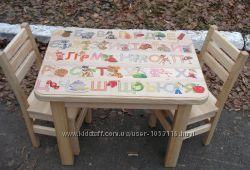 Дитячий яскравий комплект з натурального дерева. Стіл, стілець, стол, стул.