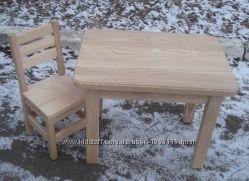 Дитячий столик стілець стул стол з натурального дерева. Ручна робота.