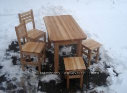 Стіл кухонний обідній 2 табурети  2 стільці. Матеріал ЯСЕН