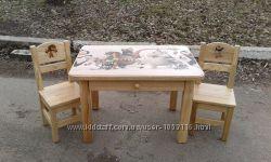 Дитячий столик з шухлядою  2 стільчики з натурального дерева Ясен
