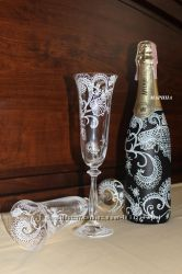 Роспись свадебных бокалов и бутылок