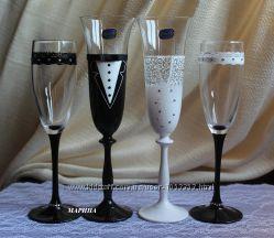 Роспись свадебных бокалов с кристаллами SWAROVSKI