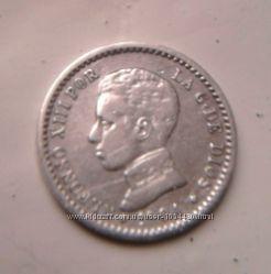 Серебро 50 сентимо Испания с 1904