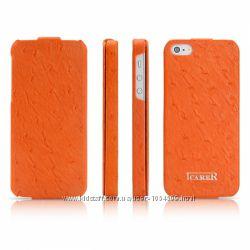 Чехол Флип iCarer кожа 3 цвета для на Айфон iPhone 5 и 5S