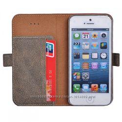 Кожанный чехол книжка с карманом Remax для на Айфон Apple iPhone 5 и 5S