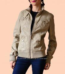 Куртка демисезонная искусственная кожа M бежевая