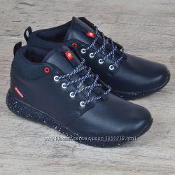 Ботинки мужские зимние кожаные Roshe темно-синие спортивные