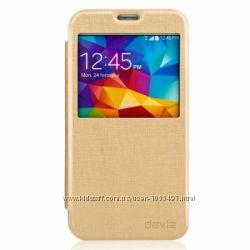 Прочный чехол книжка с окошком Devia для на Samsung Galaxy S5