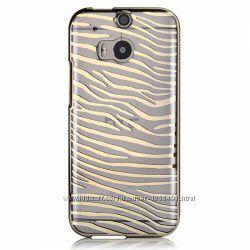 Полосатый чехол накладка Vouni для HTC One M8 зебра