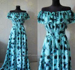 896146c0a4eb2a Летнее платье в пол с открытыми плечами Сарафан для беременных из хлопка.
