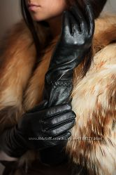 Кожаные лайка женские перчатки длинные выше локтя 3 модел, браслет, жатка