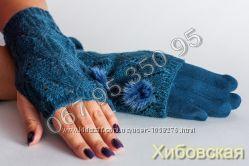 Женские кашемировые перчатки  митенки 2 в 1. - 7 расцветок