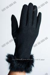 Кашемировые женские перчатки 4цвета с натуральным мехом  меховая подкладка