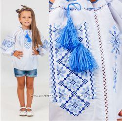 Вышиванка  крестиком для девочки с украинским орнаментом, 2цвета