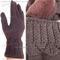 Женские меховые перчатки с вязаным манжетом - разные цвета и размеры