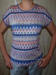 Легкая  футболка , блуза. Хлопок. Зигзаг, ромб