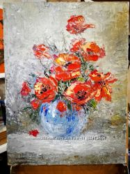 Картина маки цветы натюрморт букет маков