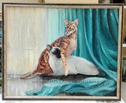 Картина коты кошки аристократы сиамские