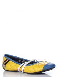 Балетки желтые с отделкой голубого цвета и декором