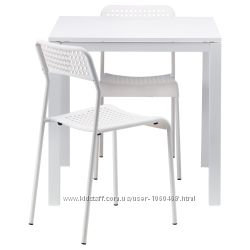 Ikea Икеа МЕЛЬТОРП АДДЕ Стол и 2 стула, белый