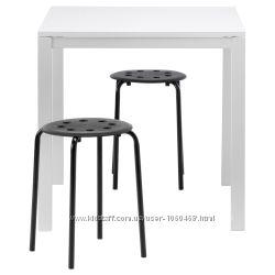 Ikea Икеа МЕЛЬТОРП МАРИУС Стол и 2 стула, белый, черный