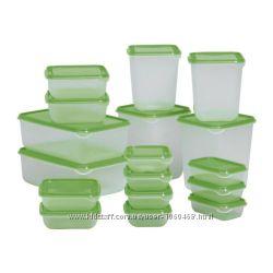 Ikea Икеа ПРУТА Набор контейнеров, 17 шт. , прозрачный, зеленый, оранжевый