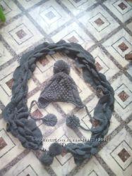 Продам шапку и шарф вязанные